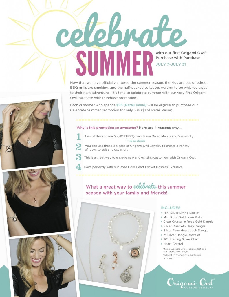 Celebrate Summer Promotion Origami Owl