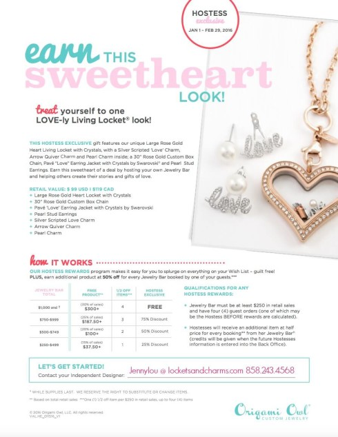 Origami Owl Feb 2016 Valentines Hostess