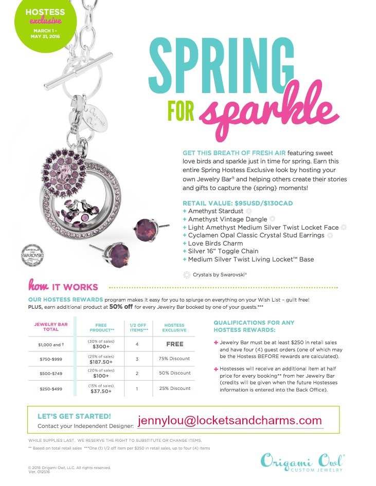 Spring 2016 Origami Owl Hostess Rewards
