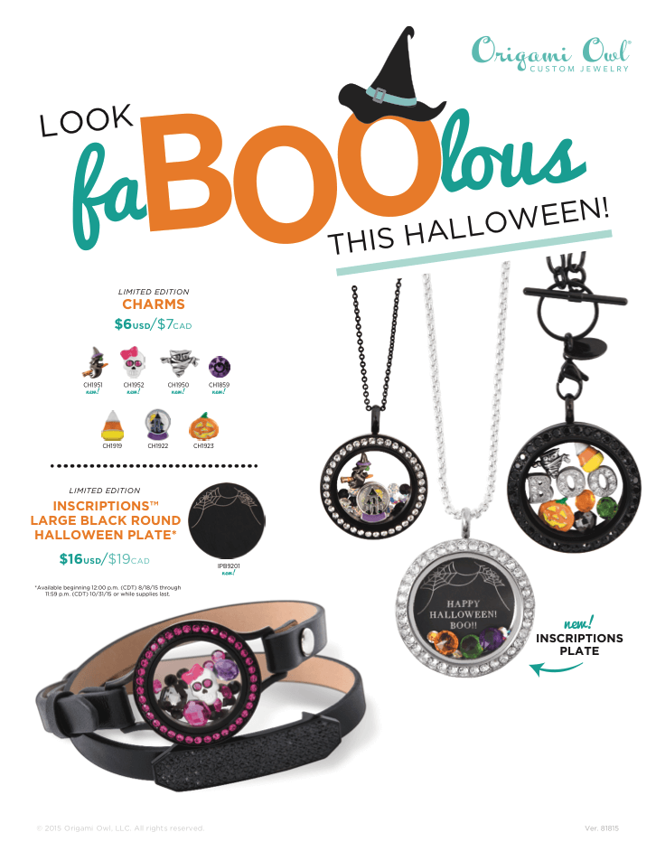 Origami Owl Halloween Jewelry Fall 2015