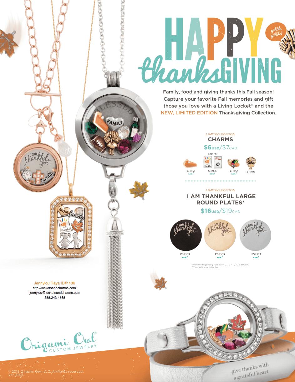 Thanksgiving Exclusive Jewelry Origami Owl Jennylou