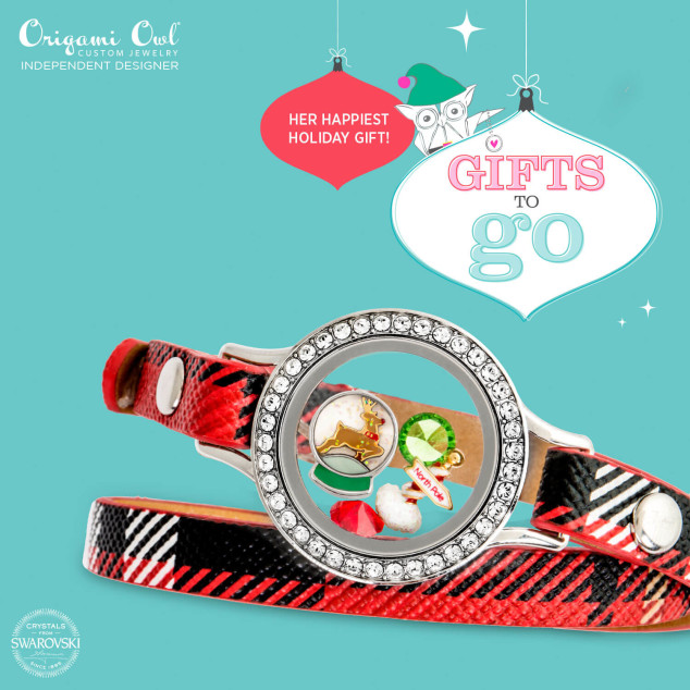 Jingle all the Way Origami Owl Gifts to Go Plaid Leather Wrap Bracelet
