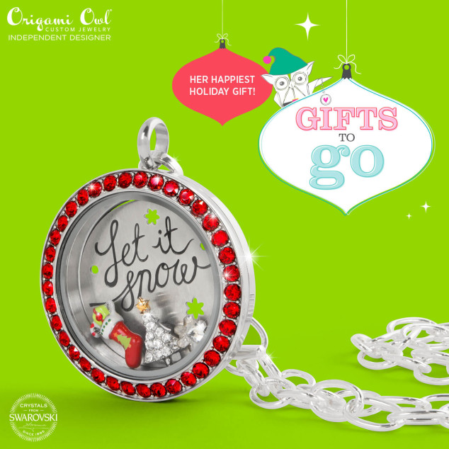 Let is Snow Origami Owl Gifts to Go Red Swarovski Locket
