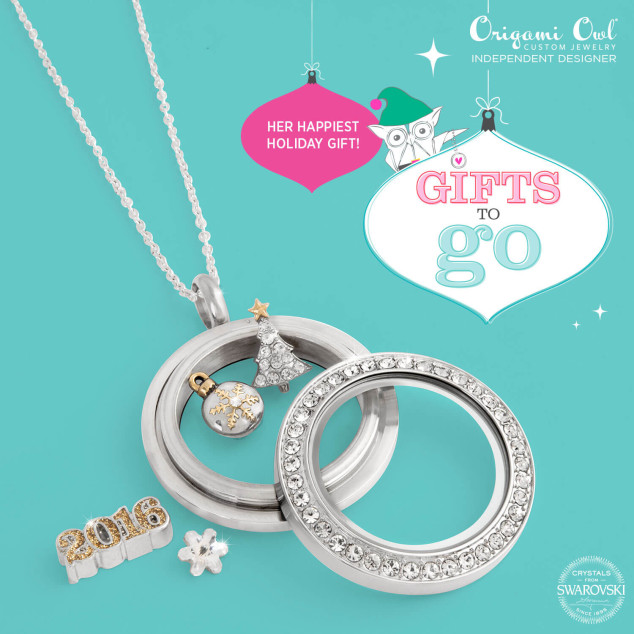 Merry and Bright Origami Owl Gifts to Go Medium Silver Swarovski Crystal Locket