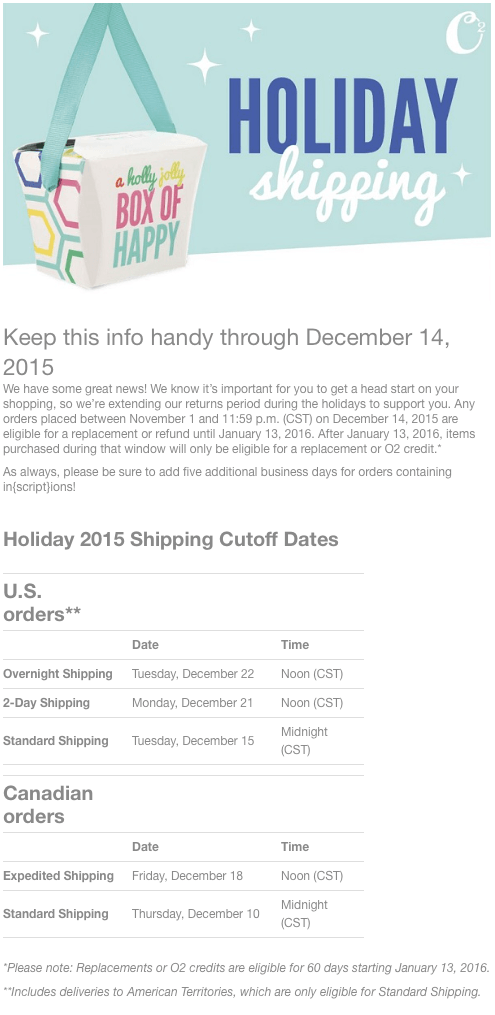Origami Owl Holiday Christmas Shipping 2015
