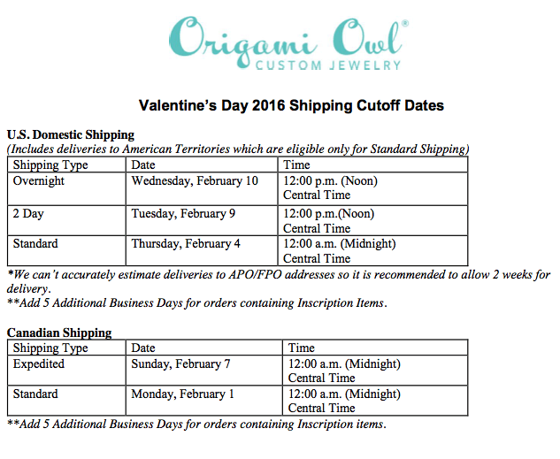 Origami Owl Valentines Day Shipping Deadline