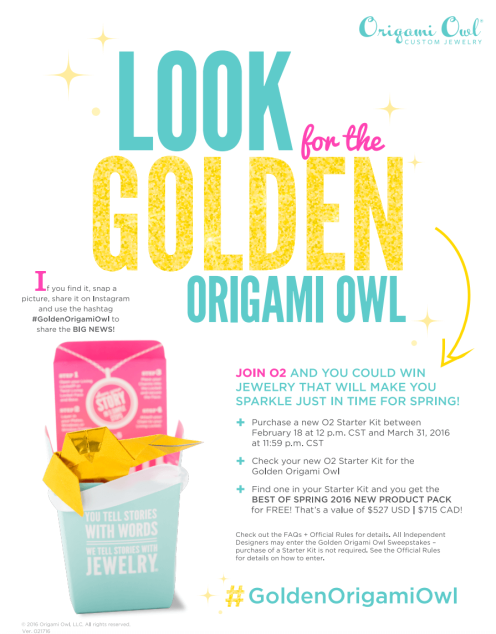 Golden Origami Owl