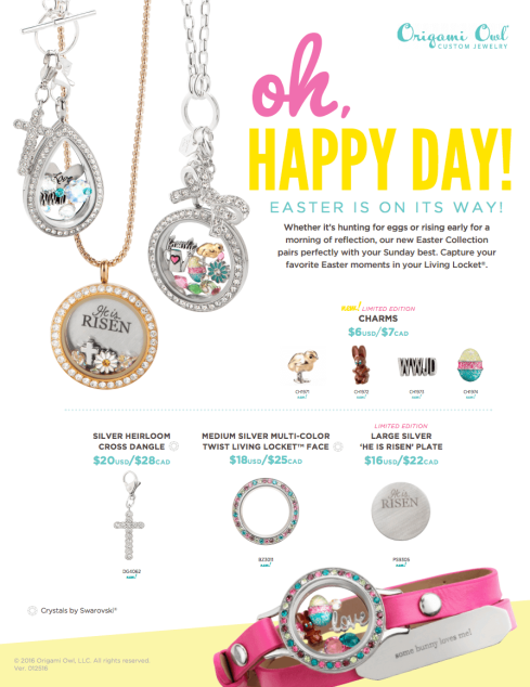 Origami Owl Easter Jewelry Charms Lockets 2016