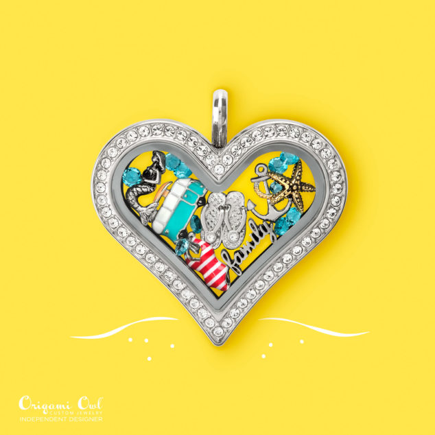 Family at the Beach Origami Owl Heart Locket Summer 2016