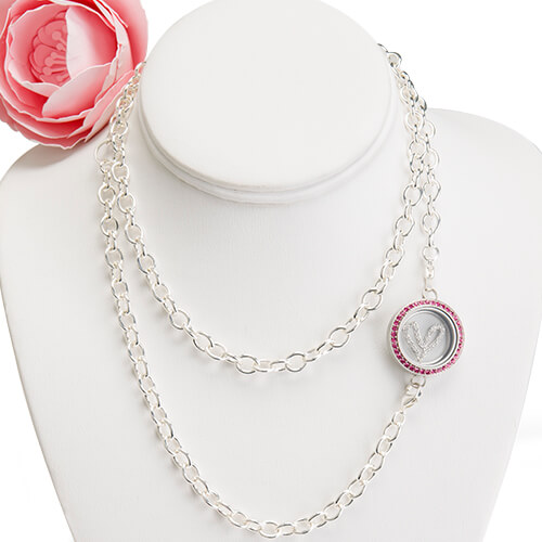 "(1) LK3007 - Medium Silver Twist Over-the-Heart Locket with Pink Crystals (1) CN5101 - 30"" Silver Over-the-Heart Chain (1) WN1005 - Medium Silver Heart Window Plate"